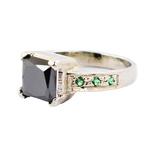 2.00 Cts Black Diamond Solitaire with Emerald Gemstone Accents Ring in Silver by skyjewels