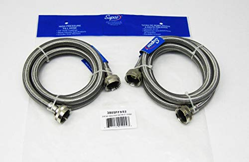 New Stainless Steel Washing Machine 5' Set Inlet Fill Hoses with Washers Accessories Fill Hose 5 Feet