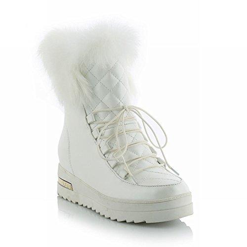 Carolbar Donna Dolce Carino Moda Faux Fur Lace Up Bella Calda Stivali Da Neve Tallone Nascosti Bianco