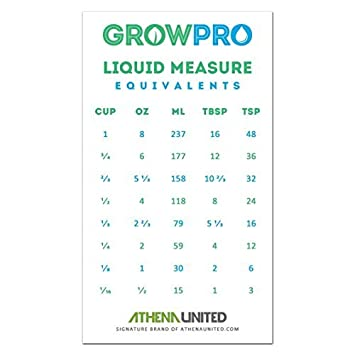 Grow Pro Liquid Measure Magnet Weight Volume Conversion Chart