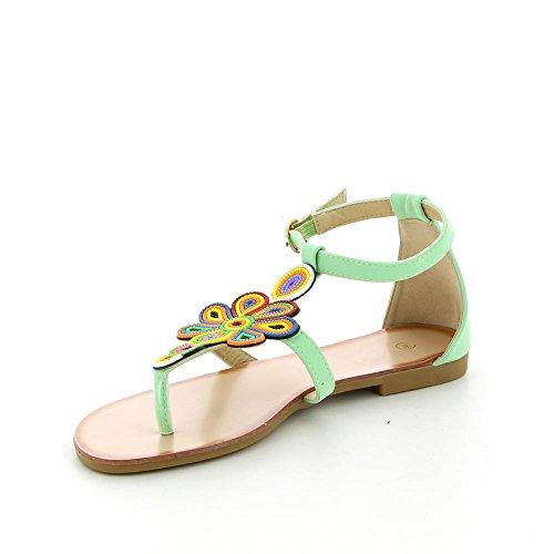 Go Moda - Sandalias planas a flores multicolor - Mujer Verde
