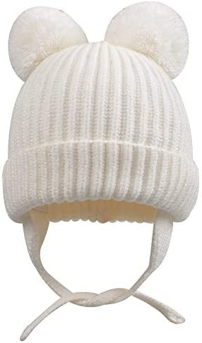 Baby HAT pom pom knitted winter fleece lined chin strings ties