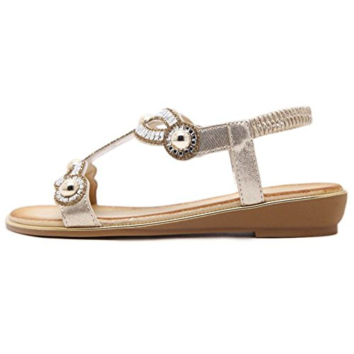 Gold Women Sandals TAOFFEN Summer Beach wUpvq8Z