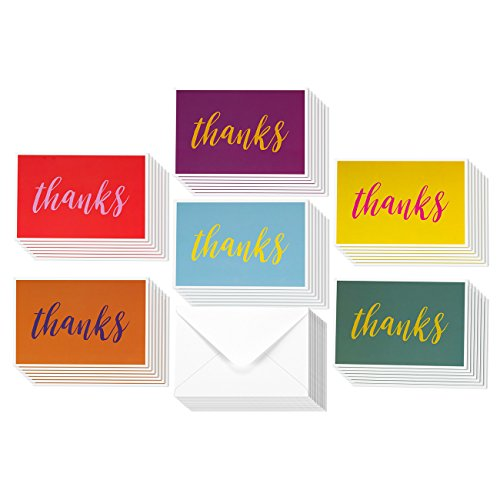 Thank You Cards - 48-Count Thank You Notes, Bulk Thank You Cards Set - Blank on the Inside, 6 Bright and Colorful Designs – Includes Matching Envelopes - Perfect for Kids and Teachers, 4 x 6 Inches (Printable Thank You Cards Birthday)