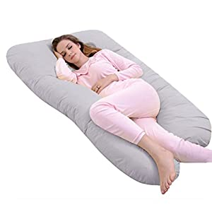 Ang Qi U Shaped Pregnancy Body Pillow with Zipper Removable Cotton Pillow Case (Grey)