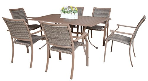 Panama Jack Outdoor Island Cove 7-Piece Slatted Dining Group, Includes 6 Armchairs and 36 by 60-Inch Rectangular Aluminum Slatted Table