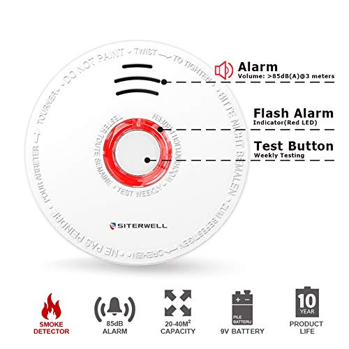Amazon.com: SITERWELL - Detector fotoeléctrico de humo y ...