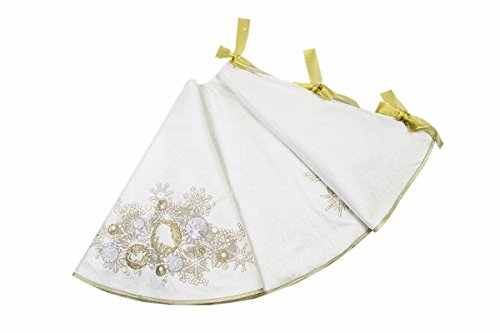 Manor Luxe Christmas Ornaments Tree Skirt, Silver by Manor Luxe