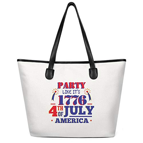 12.5X14 Inches Cute Zip Casual Canvas Large Tote Bag For Women Party Like 1776 4th Of July Festivities Reusable Grocery Beach Work Gym Book Lunch School Shopping Shoulder Handbag