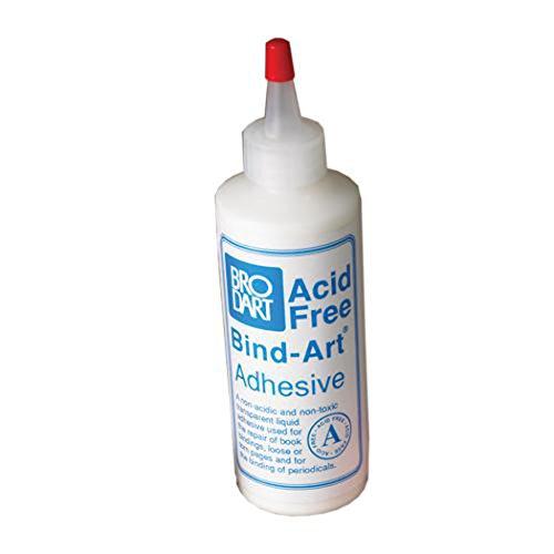 Brodart Acid-Free Bind-Art Flexible Adhesive Transparent Archival Safe Glue 4 ounces - Flexible Book