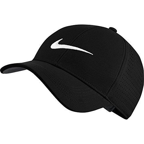NIKE Unisex AeroBill Legacy 91 Perforated Golf Cap, Black/Anthracite/White, One - Dri Nike Fit Hat Tennis