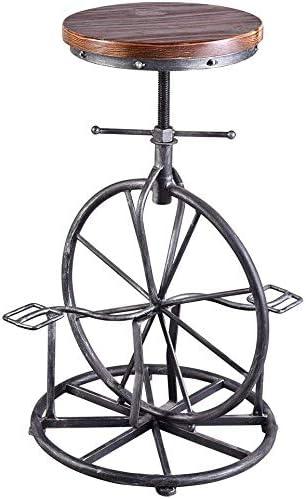 BOKKOLIK Industrial Bar Stool Bicycle Wheel Pedal Footrest Swivel Coffee Chair Pub Counter Height Adjustable 29.5 Wood Seat