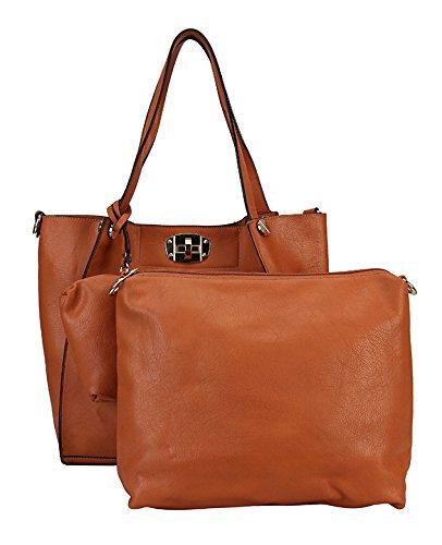 Rimen & Co. Turn Lock 3 in 1 Shoulder Tote Bag Large Purse Bag Women Woman Handbag BH-1503