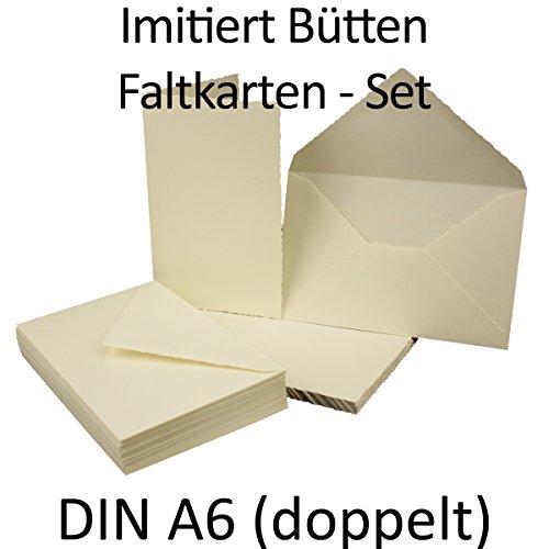 25x Set DIN A6 / C6 Falt-Karten und Umschläge mit Wellenschnitt // hochdoppelt // Weiß Matt // Qualitätsmarke: GUSTAV NEUSER