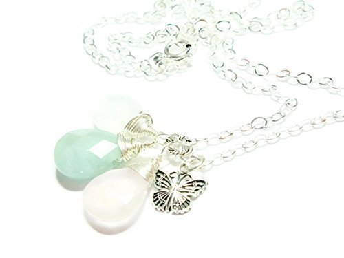 (Layla Sterling Silver or 14K Gold Filled Gemstone Fertility and Pregnancy Necklace. Featuring Natural Faceted Pear Shape Briolette Gemstones Rose Quartz, Moonstone, Amazonite and Butterfly Charm.)