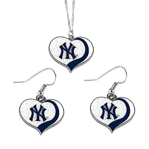 aminco New York Yankees MLB Sports Team Logo Charm Gift Glitter Heart Necklace and Earring Set ()