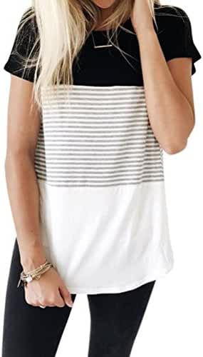 ZXZY Women Short Sleeve Round Neck Triple Threat Color Block Top Stripe Tee