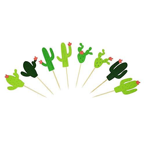LaZimnInc Cactus Cupcake Toppers 24 PCS, Fiesta West Cacti T