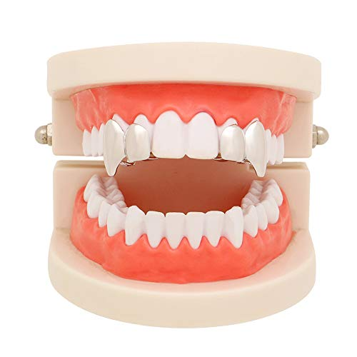 - LuReen 14k Gold Silver Shiny Double Vampire Fangs Grills Top Bottom Teeth Grillz Combo (Silver Grillz Sets)