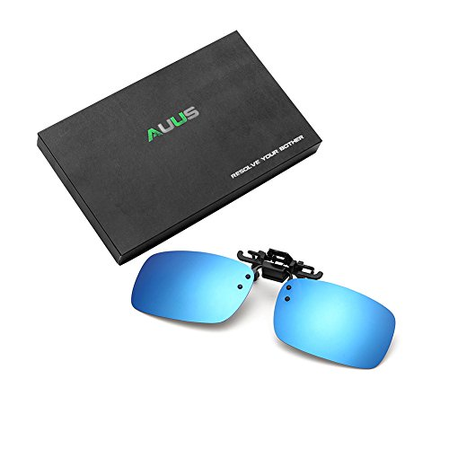 93421cf265a4 AUUS Clip On Flip Up Polarized Sunglasses by Frameless Rectangle Lens UV400