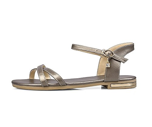 Amoonyfashion Donna Senza Tacco Fibbia Solida Materiale Morbido Open Toe Flats-sandali Oro