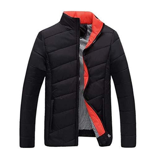 Warm Parka Imbottito Invernale Impermeabile Outwear Basso Slim Giacca Trapuntato Da Collo Schwarz Chic Warmth Uomo Fit Leggero qHz66x