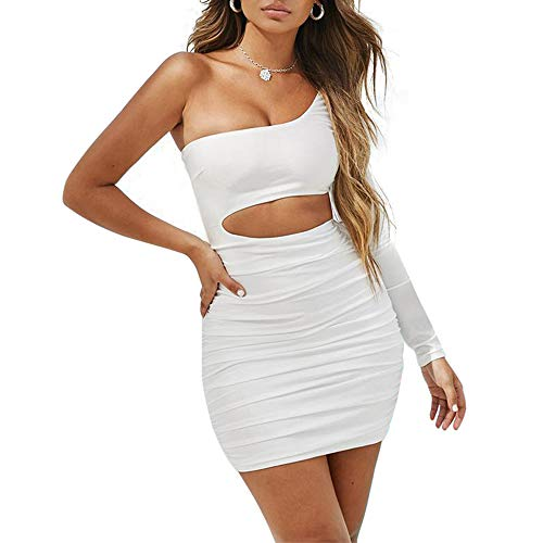 LEWTAC Women's Sexy one Shoulder Backless Long Sleeve Cutout Club Ruched Bodycon Mini Dress (White, ()
