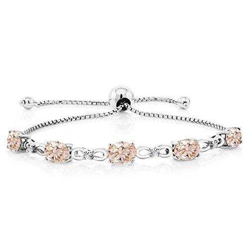 - Gem Stone King 925 Sterling Silver Adjustable Diamond Tennis Bracelet 3.25 ct Oval Morganite