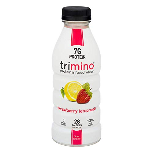 Trimino Protein Infused Water, Strawberry Lemonade, 16 Ounce (Pack of 12)