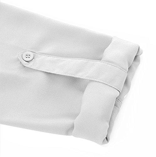 Grande v Col Tunique Taille Chic Blanc en Femme Blouse Fleasee Longue Chemisier Tops Manche Mousseline Fluide axwqW1vzUY