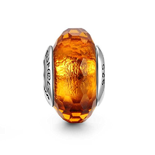SOUFEEL Amber Ice Crystal Murano Glass Bead 925 Sterling Silver Fit European Bracelets and Necklaces - Amber Murano Glass Crystal