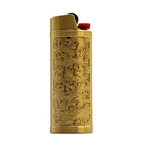 (Lucklybestseller Metal Lighter Case Cover Holder Vintage Floral Stamped for BIC Full Size Lighter J6)