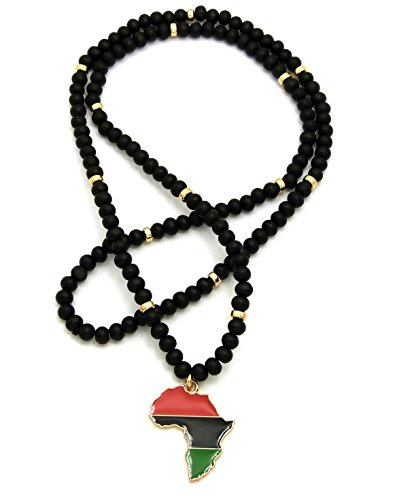 Pan Africa Continent Mini Pendant w/6mm 30'' Black Wood Bead Color Disc Necklace, Gold-Tone by NYFASHION101