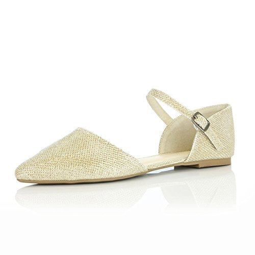 Comfort Flat Toe Casual Strap Ballerina Flats Gold Ankle Buckle Glitter Pointy DailyShoes Ballet D'Orsay Women's Shoes 7zRxEq