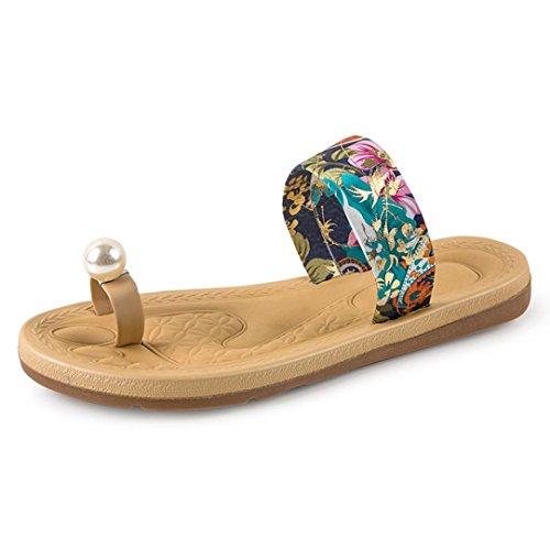 Fullkang Kvinnor Mode Sommar Platt Flip Flops Sandaler Loafers Böhmen Skor Pärla Blå