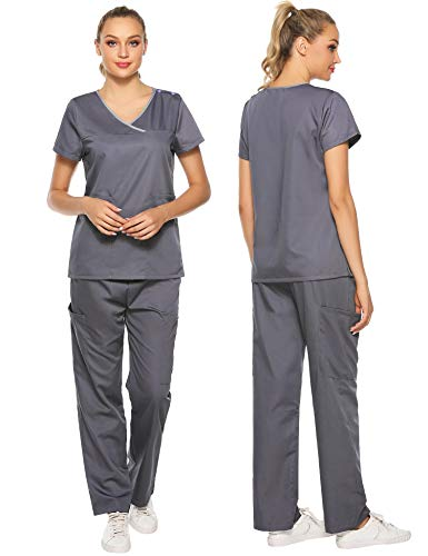 Aibrou Medical Uniform Scrubs Sets for Women with Multi Pocket Scrubs Top and Pants Dark Gray (Gray And Pink Scrub Tops)