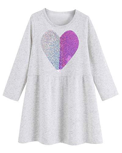 Girls Casual Dress Cartoon Cotton Kids Appliques Unicorn Dress 2-7T (6T, Reversible Sequin - Dress Kids Reversible