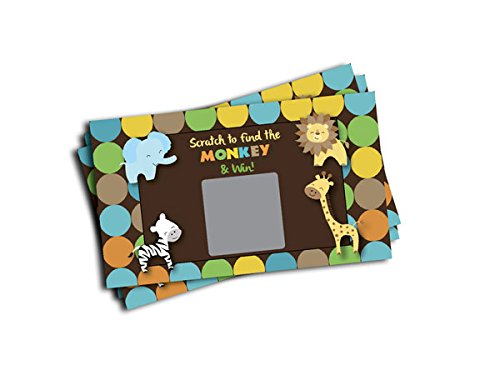 Scratch-off Lottery Cards Baby Shower Birthday Party King of Jungle Animal Themed (20-cards) - Off Animal