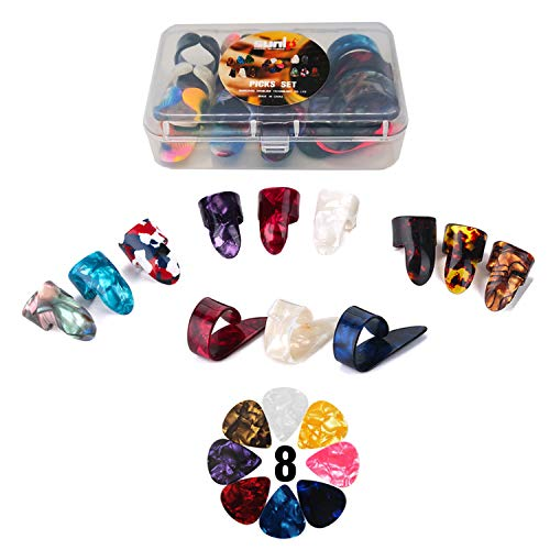 (Thumb Finger Picks Plectrum With Plastic Picks Case, 1 Dozen (3 Pairs) SUNLP Celluloid Guitar thumb finger picks Mandolin Banjo thumb finger picks and Free 8pcs 0.46mm Guitar Picks (Mix Color))