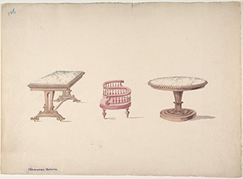 Fine Art Print | British, 19th Century | Design for a Rectangular and Round Marble-Topped Tables and a Tête-à Tête Chair | Vintage Wall Art | 24in x 18in ()