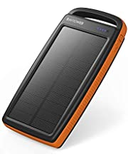 RAVPower Solar Charger 20000mAh Portable Charger Solar Power Bank Dual USB External Battery Pack Power Pack with Flashlight for Outdoor - Orange