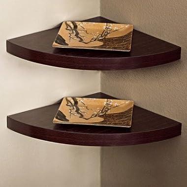Danya B Walnut Laminate Corner Radial Shelves (Set of 2)