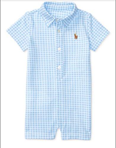 Price comparison product image Ralph Lauren Baby Boys Gingham Cotton Mesh Shortall Blue / White (18 Months)