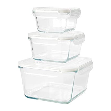 Genial Ikea Food Container, Set Of 3, Clear Glass 628.82617.102