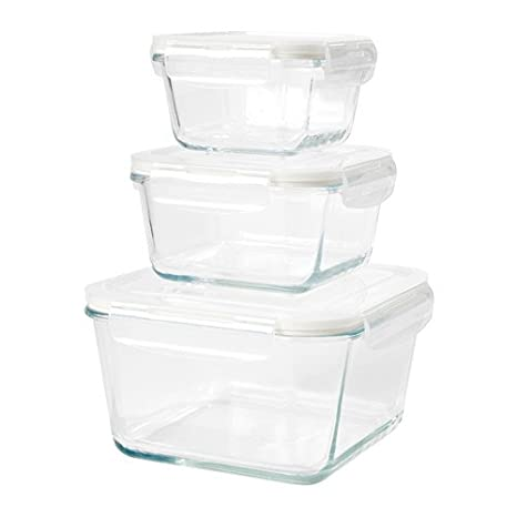 Amazoncom Ikea Food Container Set Of 3 Clear Glass 62882617102