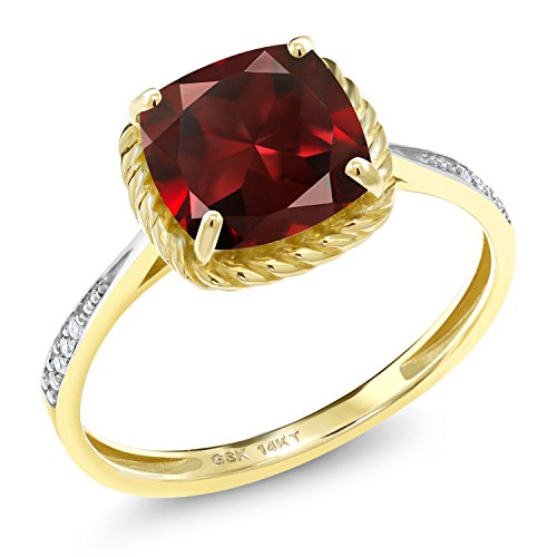 - Gem Stone King 2.80 Ct Cushion Red Garnet White Diamond 14K Yellow Gold Engagement Ring (Size 7)