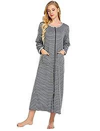 Ekouaer Womens Housecoat Soft Zipper Robe Long Nightgown Sleepwear with Pockets S-XXL