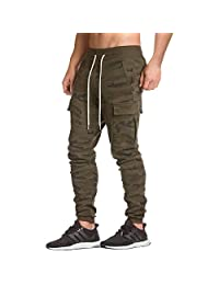 EU Men's Fitness Workout Running Bodybuilding Jogger Pants with Zip Pockets