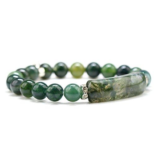 Moss Agate Bracelet - Handmade Gemstone Bange 7.2