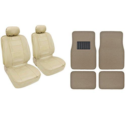 - 4 Pc Beige Classic PU Leather Bucket Seat Covers & Beige 4pc Carpet Mats BDK design